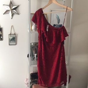 Express One Shoulder Red Lace Mini Dress